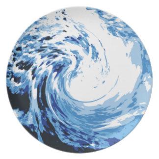 Branding in het zee diner bord