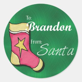 Brandon Gepersonaliseerde Kerstmis Label16 Ronde Stickers