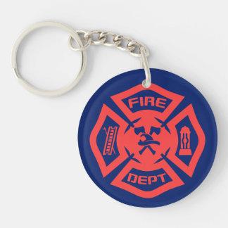 Brandweerkorps 2-Zijde Ronde Acryl Sleutelhanger