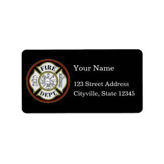 Brandweerkorps om Kenteken Etiket