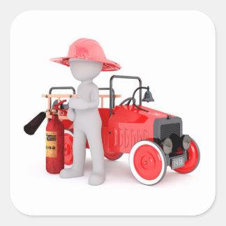 Brandweerman Vierkante Sticker