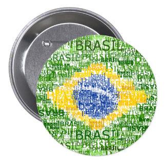 Braziliaanse Vlag - Tekstueel Brazilië Ronde Button 7,6 Cm