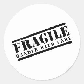 Breekbaar Handvat met het ontwerp van de Zorg Ronde Sticker