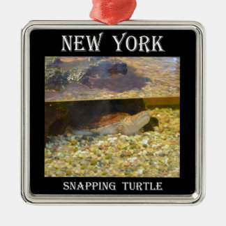 Brekende Schildpad (New York) Zilverkleurig Vierkant Ornament