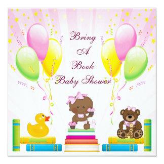 Breng een Boek Etnisch Meisje & Baby shower 13,3x13,3 Vierkante Uitnodiging Kaart