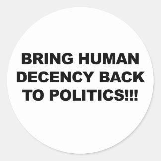 Breng terug Menselijk Fatsoen Ronde Sticker