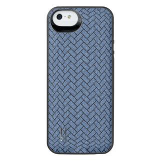 BRICK2 ZWART MARMEREN & BLAUW DENIM (R) iPhone SE/5/5s BATTERIJ HOESJE