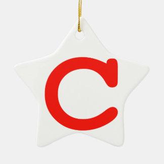 Brief c keramisch ster ornament