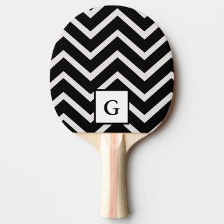 Brief G in zwart-witte zigzag Tafeltennis Bat
