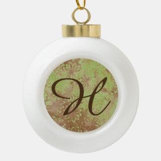 Brief H van de Bal van Kerstmis van de Kokosnoot Keramische Bal Ornament