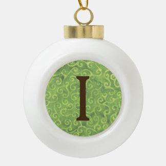Brief I van de Bal van Kerstmis van de Kokosnoot Keramische Bal Ornament