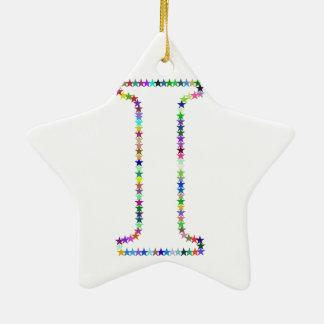 Brief I van de Ster van de regenboog Keramisch Ster Ornament