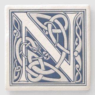 Brief N met Keltische Draken Stenen Onderzetter