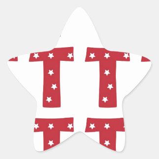 Brief T - Witte Sterren op Donkerrood Ster Sticker