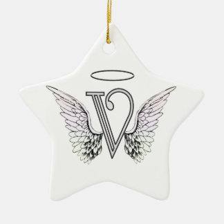 Brief V Aanvankelijk Monogram met de Vleugels & de Keramisch Ster Ornament