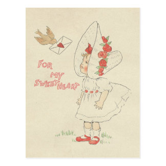Brief van de Liefde van de Vogel van het Meisje Briefkaart