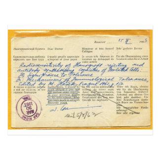 Briefkaart die in 1963, van een Laboratorium van