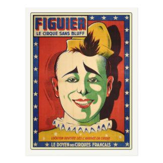 Briefkaart met de Vintage Clown van het Circus