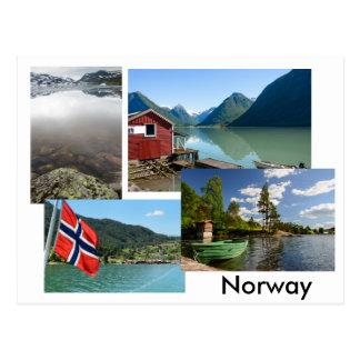 Briefkaart met diverse landschappen in Noorwegen