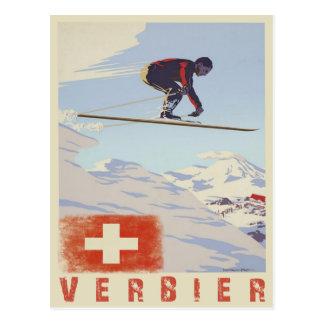 Briefkaart met Druk van de Ski van Zwitserland de