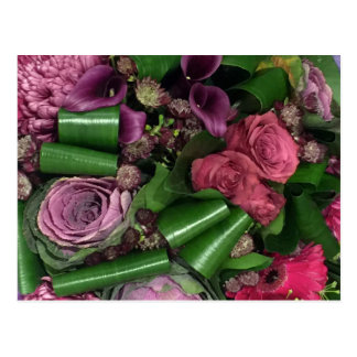 Briefkaart. Roze en Lila bloemen Briefkaart