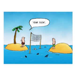 Briefkaart van de Cartoon van het Volleyball van