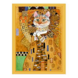 Briefkaart van de de kattenparodie van Gustav