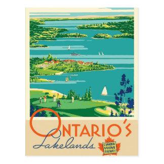 Briefkaart van de de meren het vintage reis van