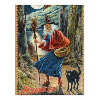 Briefkaart van de de vintage heksen het zwarte kat