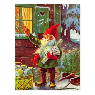 Briefkaart van de Gnoom van het vintage Elf het