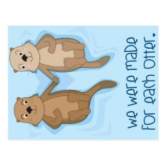 Briefkaart van de Handen van de Holding van Otters