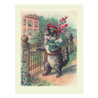 """Briefkaart van de Kat van de """"Brievenbesteller"""" Briefkaart"""