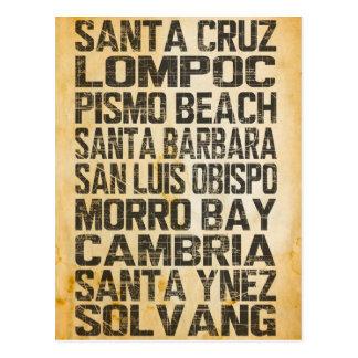 Briefkaart van de Kust van Californië het Centrale