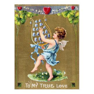 Briefkaart van de Valentijnsdag van klokjes het