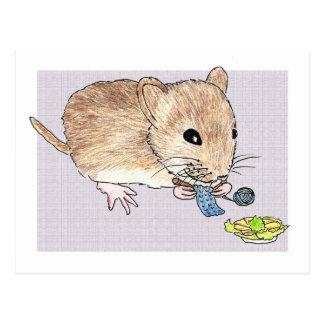 Briefkaart van een het breien bruine muis