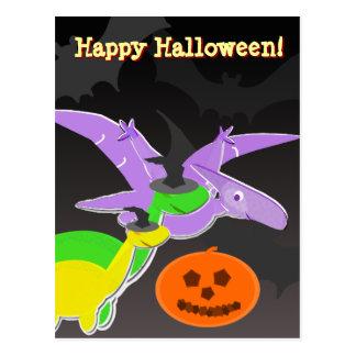 Briefkaart van Halloween van dinosaurussen het Gel