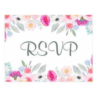 Briefkaart   van het huwelijk RSVP het Roze Boeket