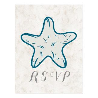 Briefkaart van het Huwelijk RSVP van de Zeester