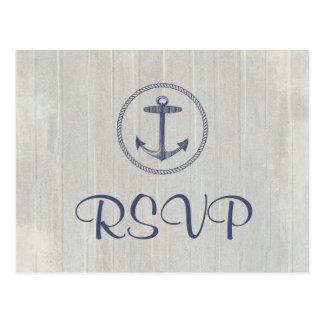 Briefkaart   van het huwelijk RSVP ZeevaartAnker
