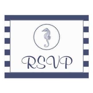 Briefkaart   van het huwelijk RSVP ZeevaartStrepen