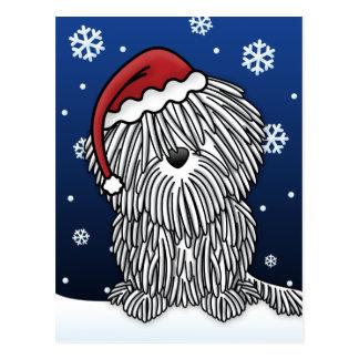 Briefkaart van Kerstmis Puli van Kawaii het Witte