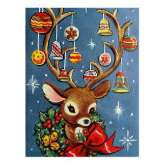 Briefkaart van Kerstmis van de vintage rendier