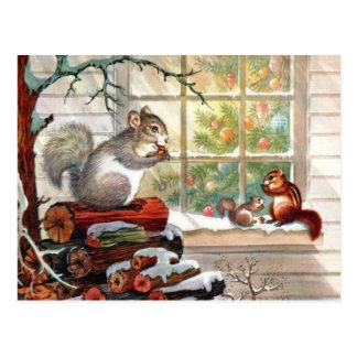 Briefkaart van Kerstmis van eekhoorns het Vintage
