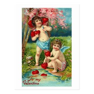 Briefkaart-vintage Cherubijn valentijns-Mijn Briefkaart