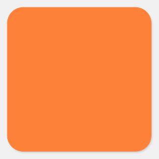 Briljante slechts oranje eenvoudige stevige kleur vierkante sticker