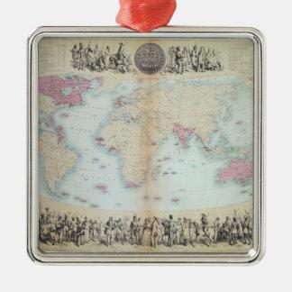 Brits Imperium over de hele wereld Zilverkleurig Vierkant Ornament