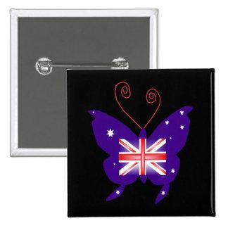 Britse Diva Vlinder Vierkante Button 5,1 Cm