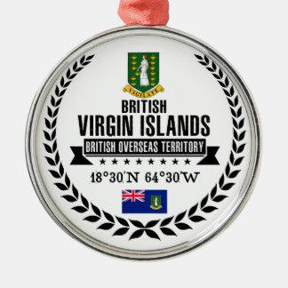 Britse Maagdelijke Eilanden Zilverkleurig Rond Ornament