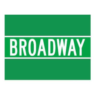 Broadway, het Teken van de Straat van New York Briefkaart