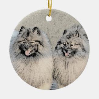 Broers 2 die van Keeshond - het Originele Art. van Rond Keramisch Ornament